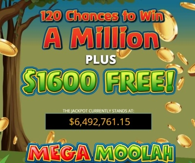 mega moolah - massive jackpot in this online casino slot game